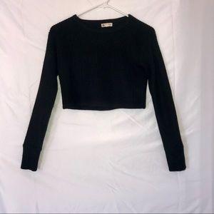 Black knit crop sweater